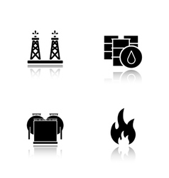 Oil industry drop shadow black icons set vector image vector image