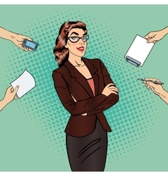 Pop Art Confident Business Woman at Office Work vector image