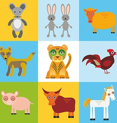 scrap card with animals seamless pattern vector image