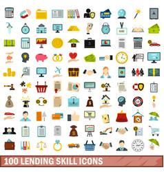 100 lending skill icons set flat style vector