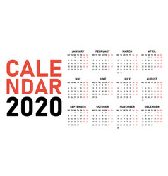 2020 calendar design template vector image