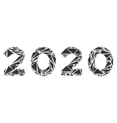 2020 year text collage of triangles vector