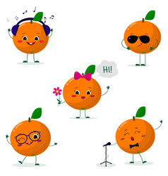 A set of five oranges smiley in different poses in vector