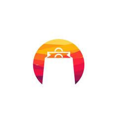 abstract circle shopping bag logo designs concept vector image