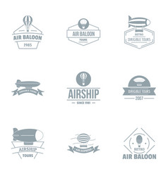Airship logo set simple style vector