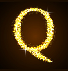 Alphabets Q of gold glittering stars vector
