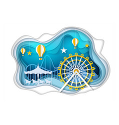 amusement park with ferris wheel paper art vector image