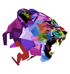 angry colorful lioness on pop art style vector image