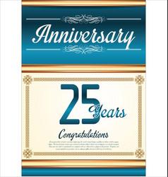 Anniversary retro blue background 25 years vector