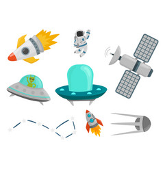 Astronaut space landing planets spaceship future vector