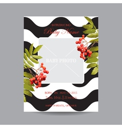 Baby Arrival Card with Photo Frame - Autumn Floral vector