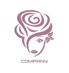 beautiful woman rose logo vector image