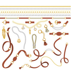 belts made leather chain decoration elements vector image