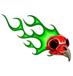 bird skull in fire tattoo design hand drawn vector image