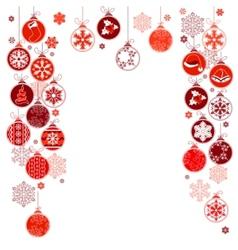 blank christmas frame with hanging balls vector image