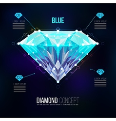 Blue diamond shape of a color blue Brilliant vector image