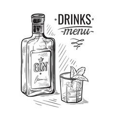 Bottles for alcohol sketch vector