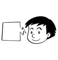 Boy and speech bubble template vector