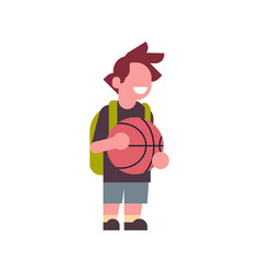 boy basketball backpack school children isolated vector image