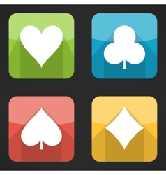 Bright playing cards suits icons set in modern vector image