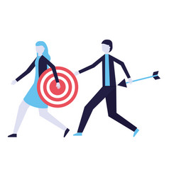 businessman and woman holding target and arrow vector image