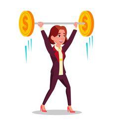 businesswoman holding barbell with coins over head vector image