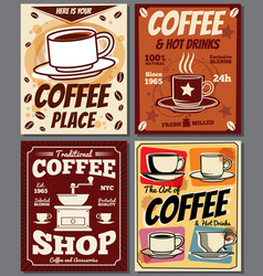 Cafe and restaurant retro posters templates vector