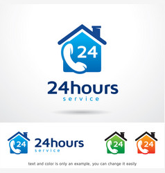 Call 24 hours logo template vector