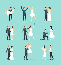 cartoon newlyweds people posing set vector image