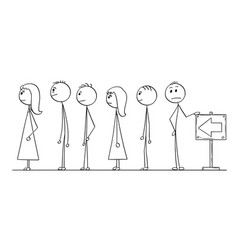 Cartoon of line of people waiting in queue vector