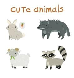Cartoon set of rabbit wolf sheep raccoon flat vector image
