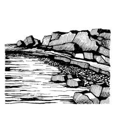 Cliffs beach rocks on coast vector