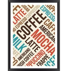 Coffee words cloud poster vector