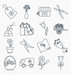 collection of flower shop icons vector image