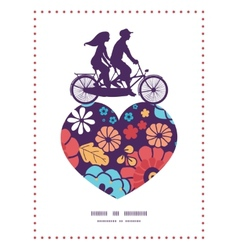 colorful bouquet flowers couple on tandem bicycle vector image