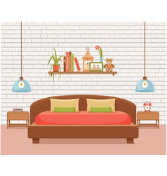 Colorful of hotel apartment furniture vector