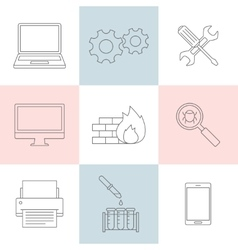 Computer service outline icons vector