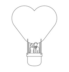couple in hot air balloon vector image