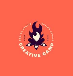 creative camp logo vector image