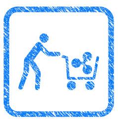 Customer cart ripple framed stamp vector