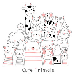 cute baanimals cartoon hand drawn style vector image