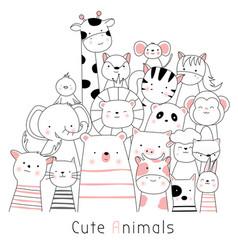 Cute baanimals cartoon hand drawn style vector