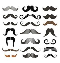 Different retro style moustache clip-art set vector image
