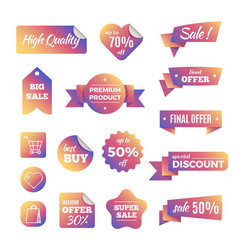 discount shopping banners and pricing labels vector image