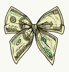 Dollar banknotes tied in bow shape vector