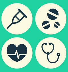 Drug icons set collection rhythm device cure vector