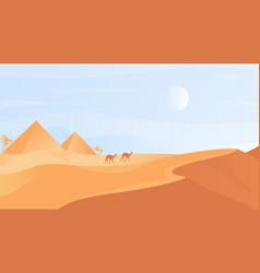 Egyptian desert nature landscape cartoon desert vector