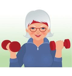 Elderly woman doing fitness vector image