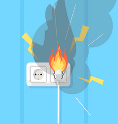 Electricity and fire defence semi flat rgb color vector