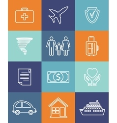 Family auto and home insurance flat icons vector image